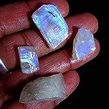 75.10Cts.100% Natural Chatoyant Rainbow Moonstone Specimen Facet Rough Lot