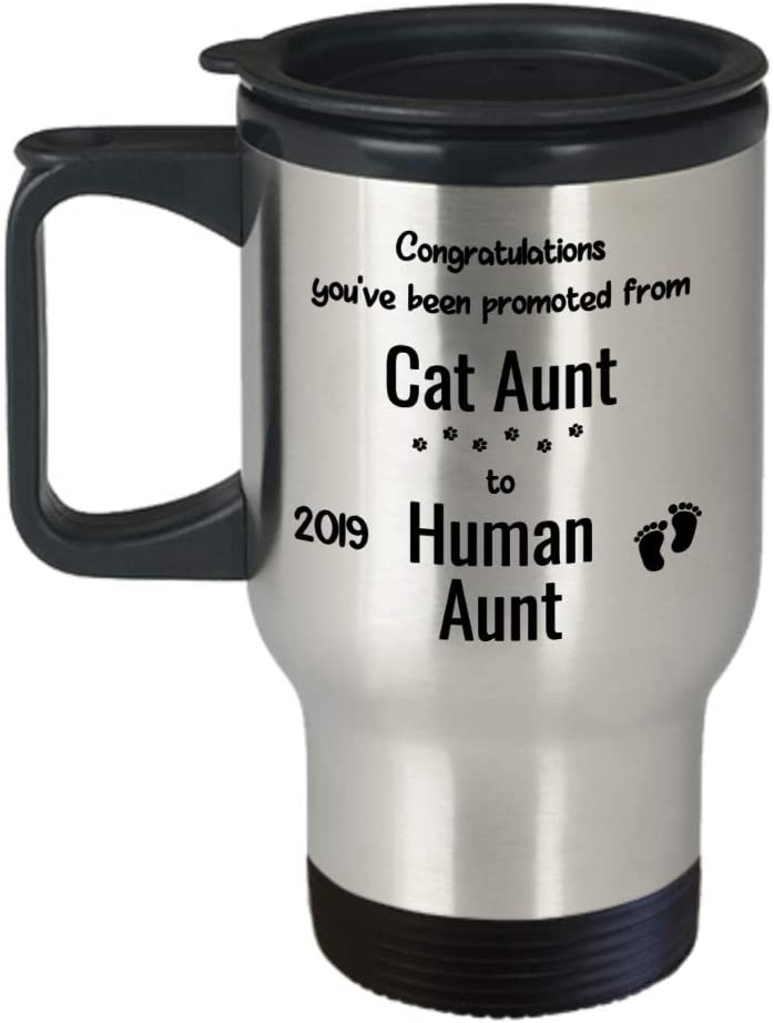 Promoted From Cat Aunt To Human Auntie Mug New Aunt Gift Baby Announcement New