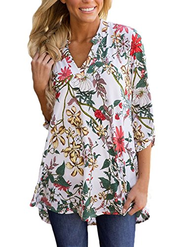 Printed Cotton Tunic Top - TrendiMax Women Casual Split V Neck Loose Cuffed 3 4 Sleeve Floral Print Tunic Top Blouses (9 Floral Pattern) (2XL, White)
