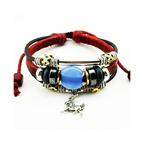 The November Nocturne Blue Opal Horse Pendant Silver Tone Tube Alloy Beaded Wine Red Leather (Blue Cloisonne Tube Beads)