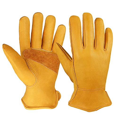 OZERO Flex Grip Leather Work Gloves Stretchable Wrist Tough Cowhide Working Glove 1 Pair (Gold, Large)