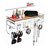 JackCubeDesign Hanging Jewelry Organizer Necklace Hanger Bracelet Holder Wall Mount Necklace Organizer with 9 Hooks and Bamboo Support(White,16.9 x 5.9 x 7.1 inches) - MK237B