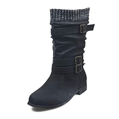factory price order online detailing V-DOTE Ladies Wide Calf Slouch Boots, Vegan Leather Mid ...