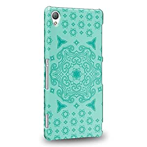 Case88 Premium Designs Art Turquoise Doodle Doilies Pattern Protective Snap-on Hard Back Case Cover for Sony Xperia Z3 (Not Z3v nor Compact Version !)