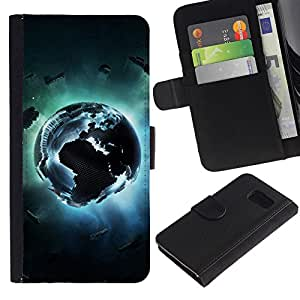 KLONGSHOP / Tirón de la caja Cartera de cuero con ranuras para tarjetas - Pixel earth ;; - Samsung Galaxy S6 SM-G920