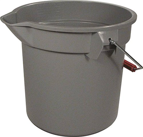14-Quart Round Utility Bucket, 12'' Diameter x 11-1/4''h, Gray Plastic by Rubbermaid