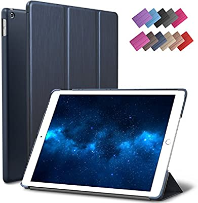 New iPad 9.7-inch 2018 2017 Case, ROARTZ Metallic Navy Blue Slim-Fit Smart Rubber Folio Case Hard Cover Light-Weight Wake Sleep for Apple iPad 5th 6th ...