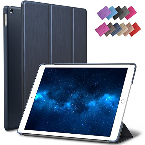 Price comparison product image New iPad 9.7-inch 2018 2017 Case,  ROARTZ Metallic Navy Blue Slim-Fit Smart Rubber Folio Case Hard Cover Light-Weight Wake Sleep For Apple iPad 5th 6th generation Retina Model A1893 A1954 A1822 A1823