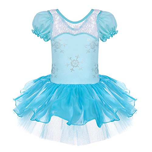 [Girls' Leotard Dancing 3-12 Years Cosplay (2-3(Tag No.S), Snowflake Short Sleeve)] (2 Snowflake)