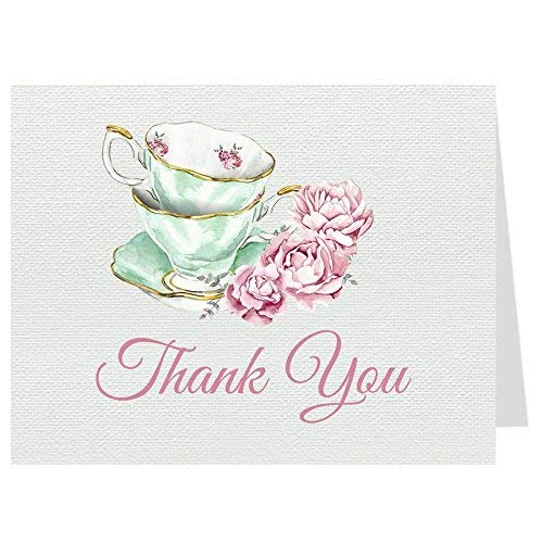 (Tea Party Thank You Cards Bridal Shower Folding Notes Thanks Wedding Party Pink Mint Blush Elegant Chic Vintage Tea Cups Victorian (24 count))