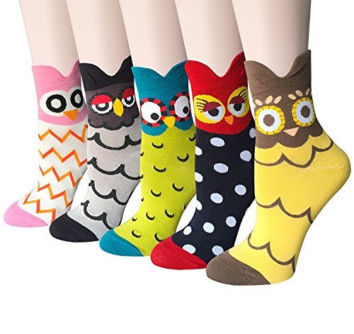 Womens Girls Best Socks Collection - Novelty Cute Lovely Animal Owl Character Design Patterned, Perfect Secret Santa Present - Good for Gift Under $20 - One Size Fits All (Owl 5)