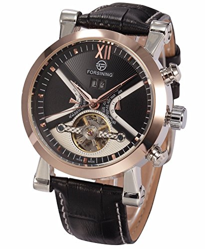 - Carrie Hughes Men's Luxury Tourbillon Rose Gold Automatic Mechanical Leather Watch Date Display CH263B (CH263B)