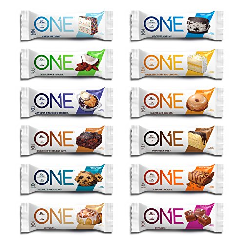 ONE Protein Bar, 12 Flavor Super Variety Pack, 12 Pack, Gluten-Free Protein Bars with High Protein (20g) and Low Sugar (1g), Guilt Free Snacking for Healthy (One Bat)