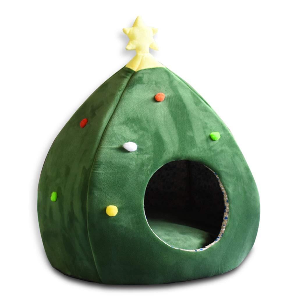 Hxyan Dog Bed Pet Nest Cat Bed Small Short Plush PP Cotton Oxford Sponge Christmas Tree Shape Kennel 38  38  60cm