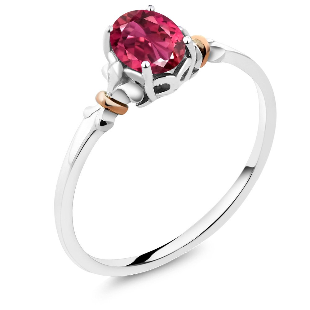 925 Sterling Silver and 10K Rose Gold Ring Oval Pink Tourmaline AA (0.70 cttw, Available in size 5,6,7,8,9)
