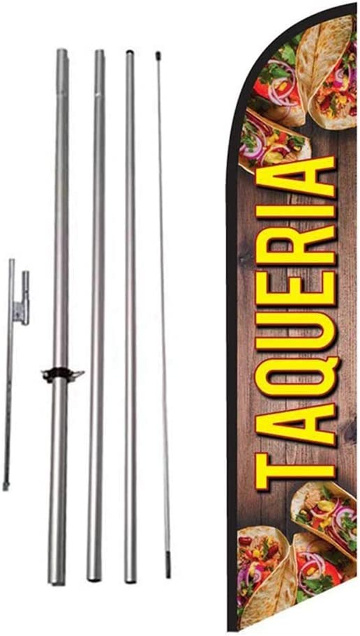 Taqueria Mexican Food Advertising Feather Banner Swooper Flag Sign with Flag Pole Kit and Ground Stake