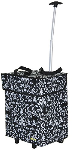 dbest products Bigger Smart Cart, Damask Collapsible Rolling Utility Cart Basket Grocery Shopping...