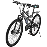 acction Adult Mountain Bikes 26 Inch Mountain Trail Bike High Carbon Steel Full Suspension MTB Speed Bicycles 6 Spoke 21 Speed ​​Gears Dual Disc Brakes Outdoor Mountain Bicycle - US Stock
