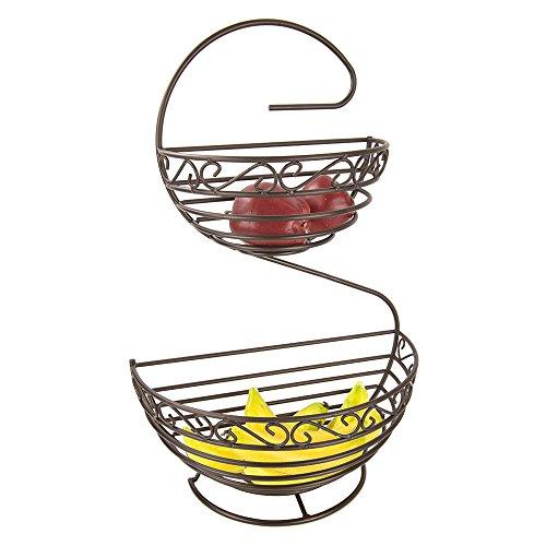 Scroll Basket - Home Basics FB45388 Scroll Collection 2 Tier Spiral, Bronze Fruit Basket, One Size,