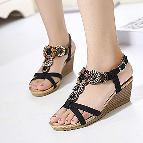 Ethnic Sandals Beaded Bohemian Heel Nero Comode Wedge Donna da New Sandals Buckle Scarpe Xianshu 8qIw5C8
