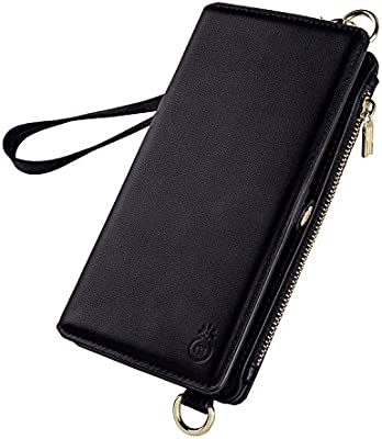 galaxy S9 Plus case(Black)Leather Zipper Women Wallet Fashion Hand Rope and Shoulder Rope