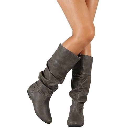 1fa38a90ba4ac6 BIGTREE Femmes Bottes Cuissardes Slouch Confortable Pull à Plat Long Bottes  Western Classique Bottes de Combat