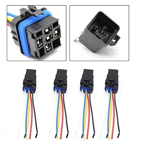 (Black Plastic&Copper 4X Waterproof Relay Socket&Relay for Automobile Alarms Headlight Horn)