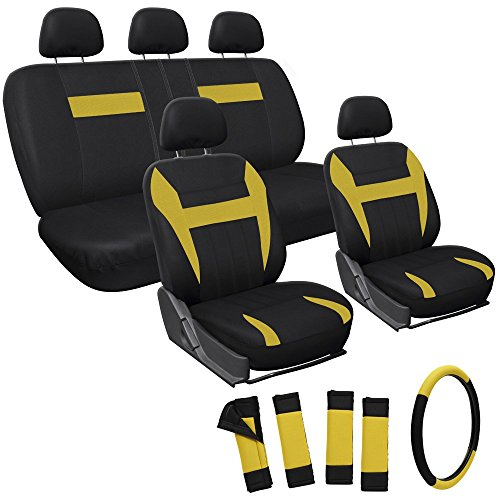 Oxgord 17pc Set Flat Cloth Mesh / Yellow & Black Auto Seat Covers Set - Airbag Compatible - Front Low Back Buckets - 50/50 or 60/40 Rear Split Bench - 5 Head Rests - Universal Fit for Car, Truck, Suv,