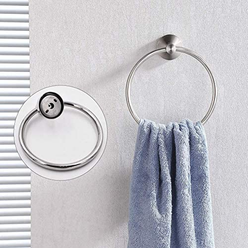 Towel Rings for bathrooms -Towel Ring Contemporary Style Stainless Steel 304 Chrome Bathroom Accessories Toilet Towel Ring Wall Mount(Towel Ring)