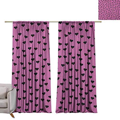 Curtains Window Drapes Hot Pink,Love Valentines Day Black Mini Hearts on Fuchsia Backdrop Abstract Design, Fuchsia Black W72 x L96 Blackout Window Curtain