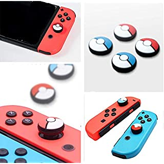Silicone Analog Thumb Stick Grips Caps Joystick Cap Cover for Nintendo Switch NS Joy-Con Controller Sticks Skin Joy Con Caps for Pokemon Pokeball Go (Joy-con 4 Pcs)