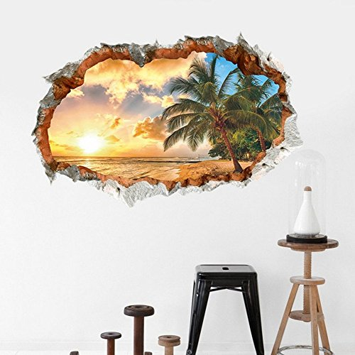 Sunshine scenery 3D Cracked Children Themed Art Boy Room Wall Sticker Home Decal Decor 1pcs (Wall Illusion)