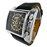 YouYouPifa Men's Synthetic Leather Strap Rectangle Mechanical Watches (Black Strap / Black Dial)