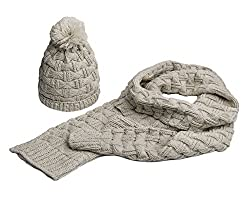 Lanzom Women Lady Fashion Winter Warm Knitted Hat and Scarf Set Skullcaps