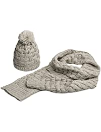 Women Lady Fashion Winter Warm Knitted Hat and Scarf Set Skullcaps Valentine's Gift