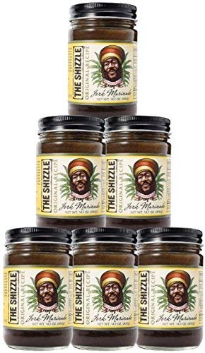 The Shizzle Original Jerk Seasoning Marinade (Six Pack) - 14 Ounce Jar - Authentic Island Flavor w/ Pineapple Base - Traditional Rub - Sauce for Chicken, Pork, Etc