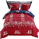 LAMEJOR Duvet Cover Sets Queen Size I Love London Pattern Bedding Set Comforter Cover (1 Duvet Cover+2 Pillowcase)