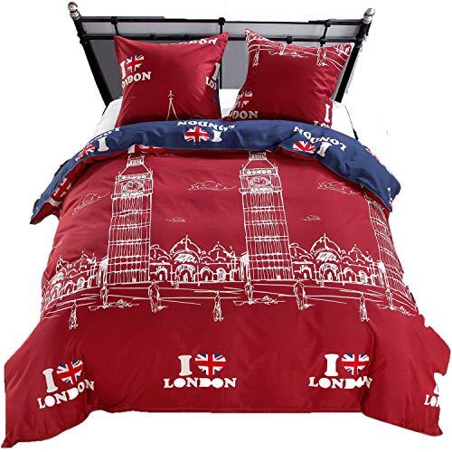 LAMEJOR Duvet Cover Sets Queen Size I Love London Pattern Bedding Set Comforter Cover (1 Duvet Cover+2 Pillowcase) ()
