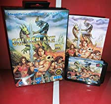 MD games card - Golden Axe III 3 Japan Cover with Box and Manual for MD MegaDrive Genesis Video Game Console 16 bit MD card - Sega Genniess - Sega Ninento, 16 bit MD Game Card For Sega Mega Drive