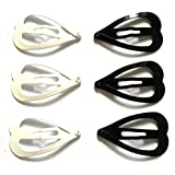 24 Pcs Cute Big Heart Hair Snap Clip Size 45 Mm X 25 Mm Black and White