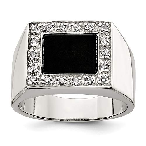 925 Sterling Silver Mens Cubic Zirconia Cz Black Onyx Band Ring Size 9.00 Man Fine Jewelry Gift For Dad Mens For Him
