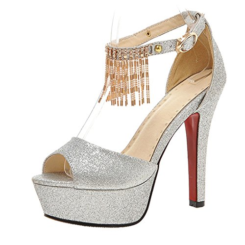 AIYOUMEI Women Ankle Strap Glitter Peep Toe Stiletto High Heel Platform Sandals ith Buckle and Rhinstone Silver xDbNl1Bx4