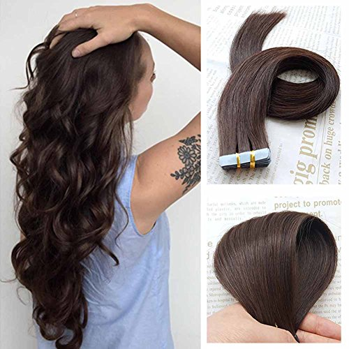 SHOWJARLLY #2 Dark Brown Remy Tape in Real Hair Extensions Human Hair Silky Straight 18inch Seamless Skin Weft Tape in Extensions (40g,20Pcs)