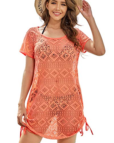AS ROSE RICH Swimsuit Cover Ups for Women - Beach Dresses for Women - Diamond Lace Dress - Regular and Plus Size 1X Fusion Coral
