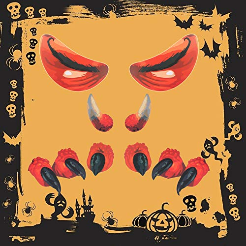 CHALA Halloween Monster Face Decorations,Waterproof Garage Archway Door Outdoor Monster Pattern Sticker with Closed Eyes,Fangs,Paw and Double Stickers for Window Wall Porch Decor
