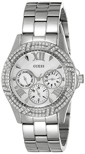 Ladies' GUESS W0632L1 Sporty Silver-Tone Watch with Multi-Function Mother-of-Pearl Dial