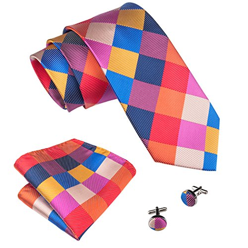Barry.Wang Colored Mens Tie Pocket Square Cufflinks Set Christmas Tie Set