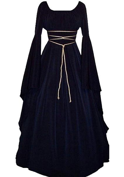 Lecoyeee Disfraz Medieval Traje Medieval para Mujer Traje Vintage Princesa Reina Gótico Cuello U Cosplay Bruja de Halloween Vestidos Largo de Fiesta ...