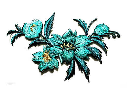 Green Blue Wildflowers Embroidery Applique Patch Beautiful Flowers Patch for Bags Jackets Jeans Clothes or Gift (Blue Flower)