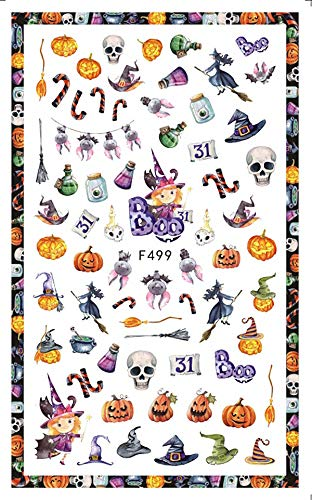 Xemesis-Store - Stickers Decals - Sheet Happy Halloween Black Bat Witches Broomsticks Skeletons Corpse Bride Jack o Lanterns Adhesive Nail Art Stickers F49X - by Xemesis-Store - 1 PCs ()